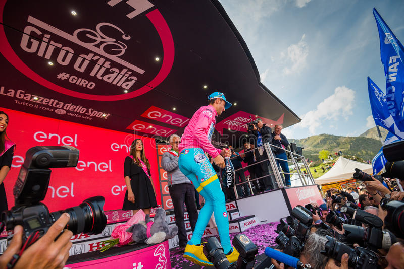 Sant Anna, Italy May 28, 2016; Vincenzo Nibali, Astana team, on the podium in pink Jersey stock images