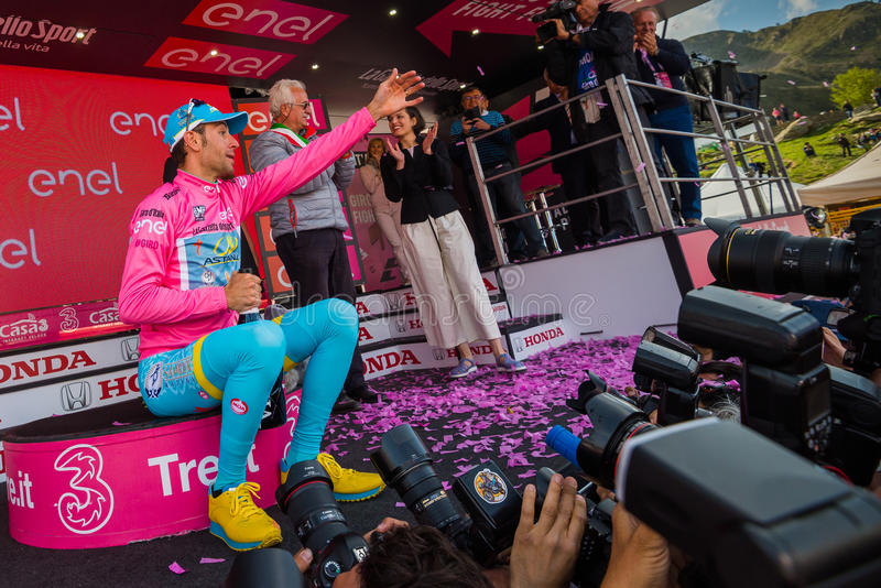 Sant Anna, Italy May 28, 2016; Vincenzo Nibali, Astana team, on the podium in pink Jersey royalty free stock photo