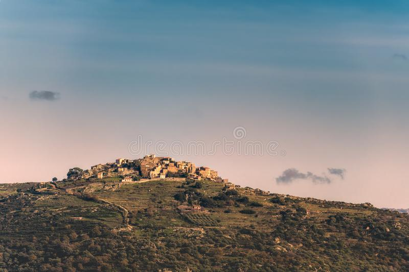 Sant Antonino village in the Balagne region of Corsica stock photography