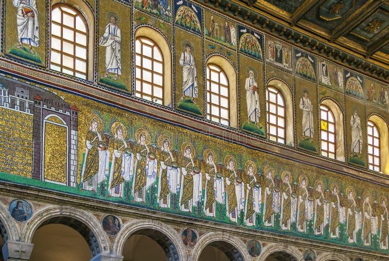 Sant Apollinare Nuovo,拉韦纳大教堂  意大利 免版税图库摄影