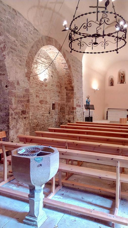 Sant Cristofol de la Castanya rural church interior stock photography