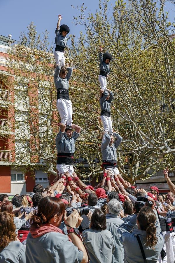 Castellers Sant Cugat 2013 stock foto