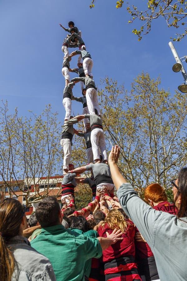 Castellers Sant Cugat 2013 stock foto's