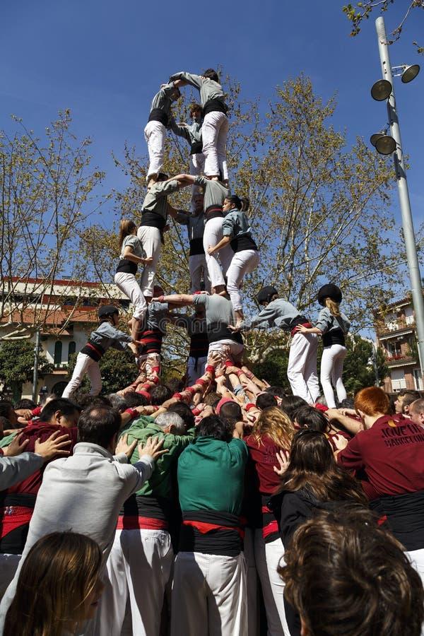 Castellers Sant Cugat 2013 stock afbeeldingen