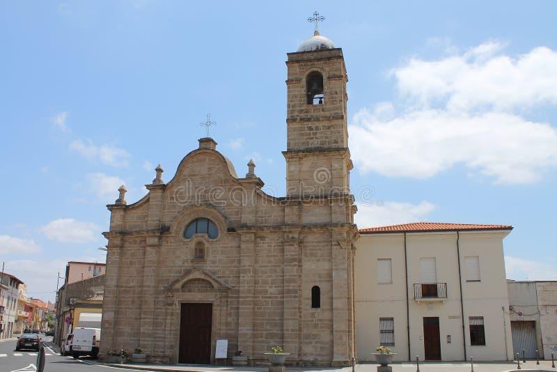 Sant ` Efisio教会在奥里斯塔撒丁岛意大利 免版税库存照片