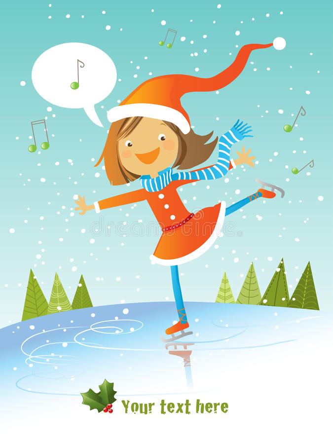 Download Sant girl skating stock vector. Illustration of card - 11507094