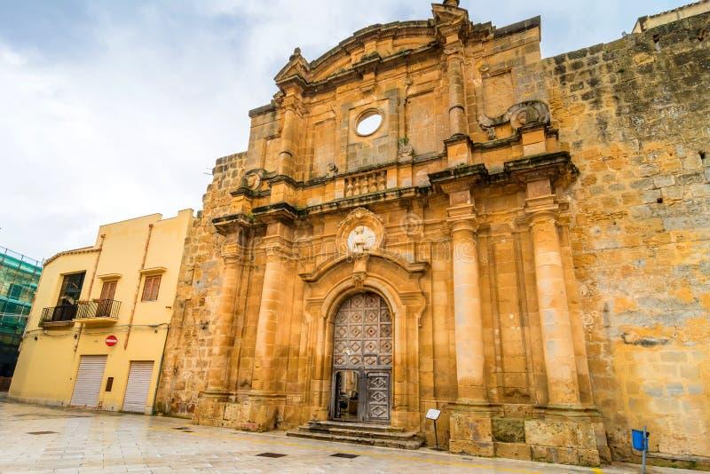 Sant'Ignazio Church ruins in Mazara del Vallo, Sicily. MAZARA DEL VALLO, ITALY - FEBRUARY 22, 2014: day view of Sant'Ignazio Church Facade in Mazara del Vallo royalty free stock photography