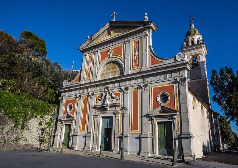 Sant ` Ilario教会在热那亚赫诺瓦,热那亚,意大利的自治市的邻里 免版税图库摄影