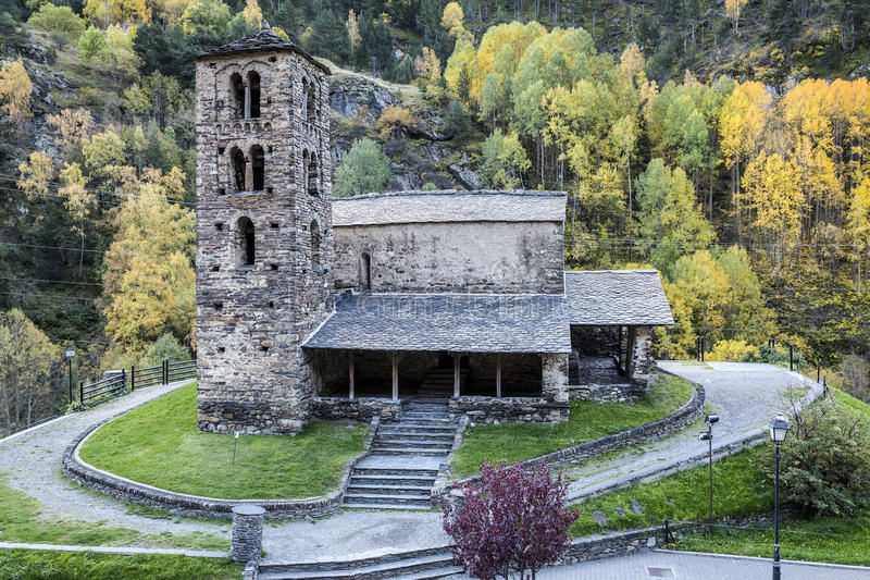 Sant Joan de Caselles in Canillo, Andorra. Sant Joan de Caselles (Canillo, Andorra). Romanesque church build in the 12th century stock image