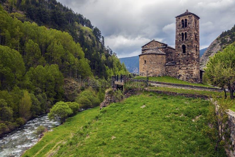 Sant Joan de Caselles Church in Canillo stock afbeeldingen
