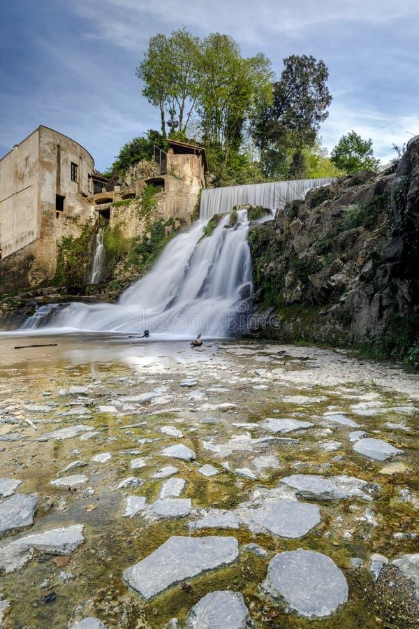 Sant Joan de les Fonts,卡塔龙尼亚,西班牙 库存图片