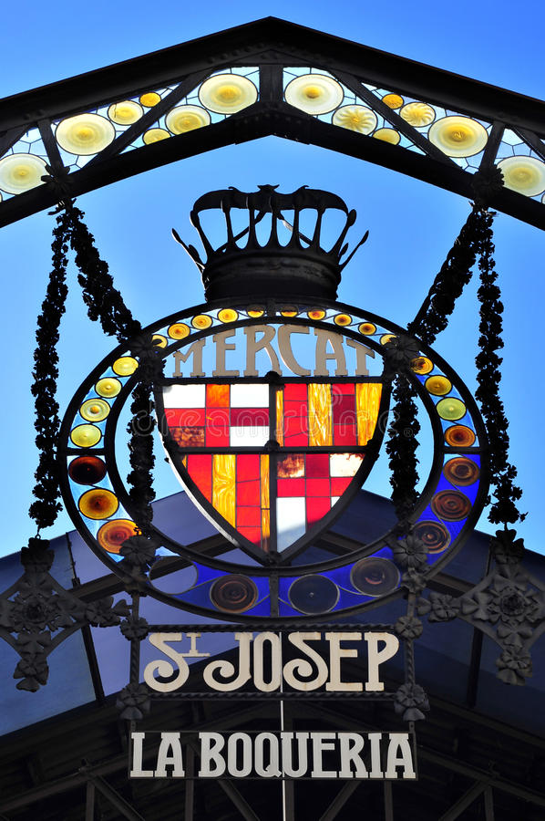 Sant Josep de la Boqueria Marknadsföra i Barcelona, Spanien arkivfoto