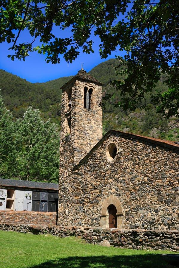 Sant Marti de la Cortinada (Ordino, Andorra). Romanesque church build in the 12th century royalty free stock image