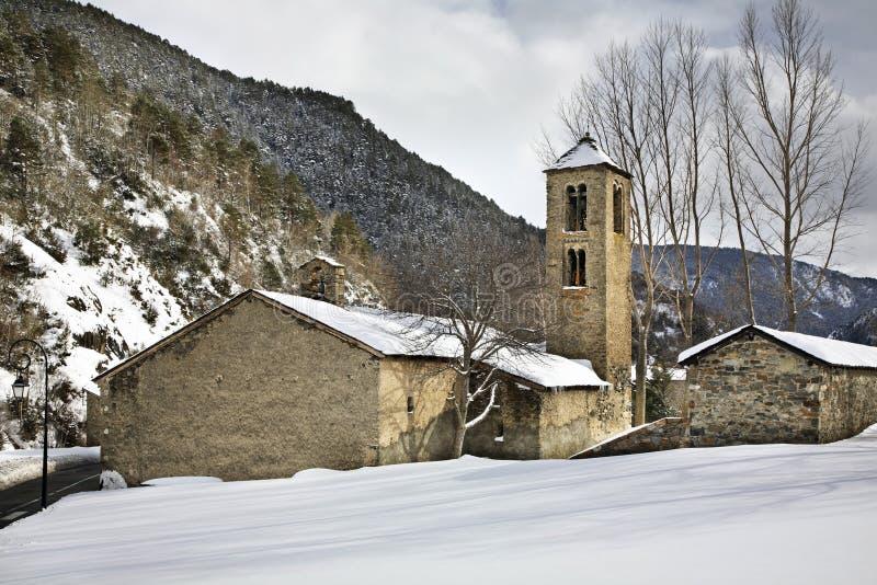 Sant Marti de la Cortinada Romanesque church in la Cortinada. Andorra.  royalty free stock photos