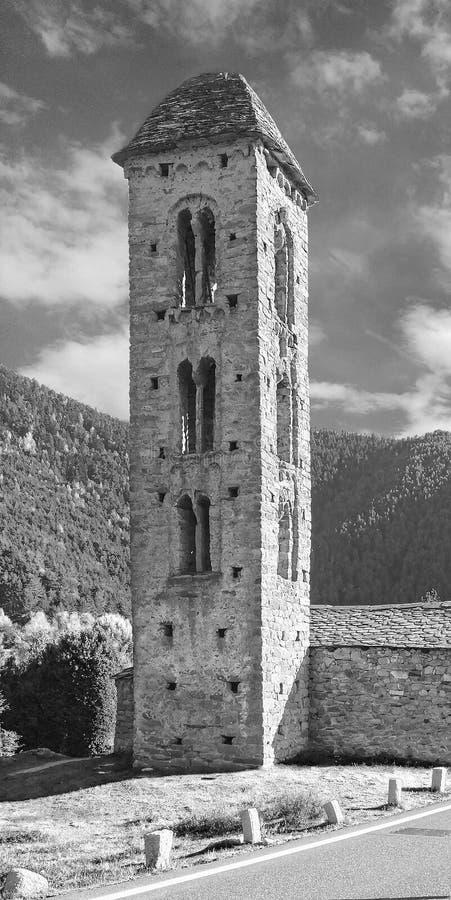 Sant Miquel Engolasters Church, Andorra Ancient, katolicism Unescos världsarvslista arkivfoton