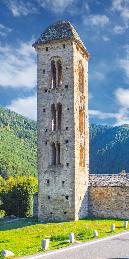 Sant Miquel Engolasters Church, Andorra Ancient, katolicism Unescos världsarvslista royaltyfri foto