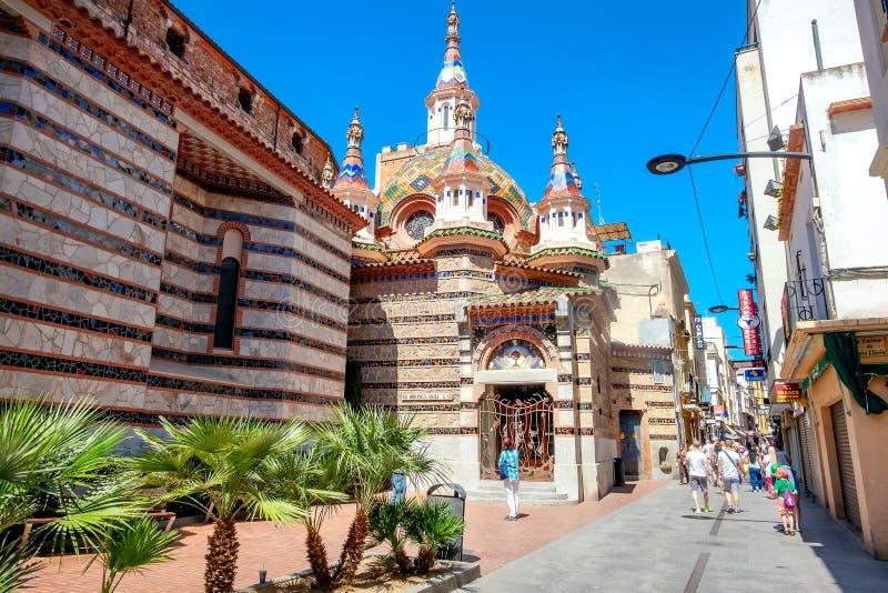 Sant Roma Church em Lloret de Mar Costa Brava, Catalonia, Espanha fotografia de stock royalty free