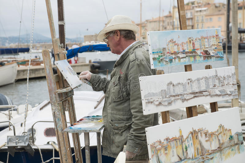 Download Sant-Tropez Street Artist editorial stock image. Image of street - 35080014