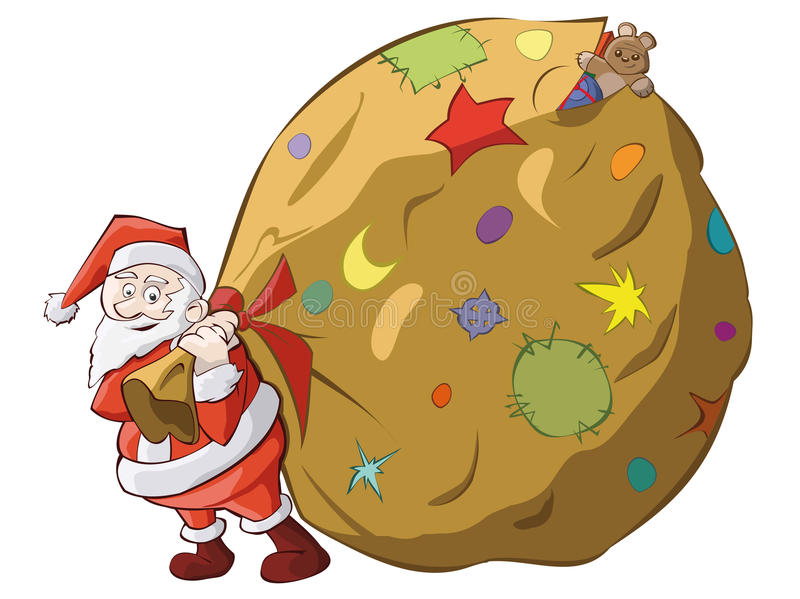 Santa's big present royalty free illustration