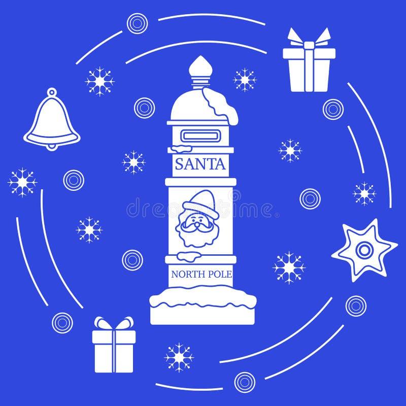 Santa's-Briefkasten, Geschenke, Glocke, Lebkuchen lizenzfreie abbildung