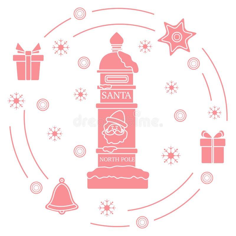 Santa's-Briefkasten, Geschenke, Glocke, Lebkuchen vektor abbildung