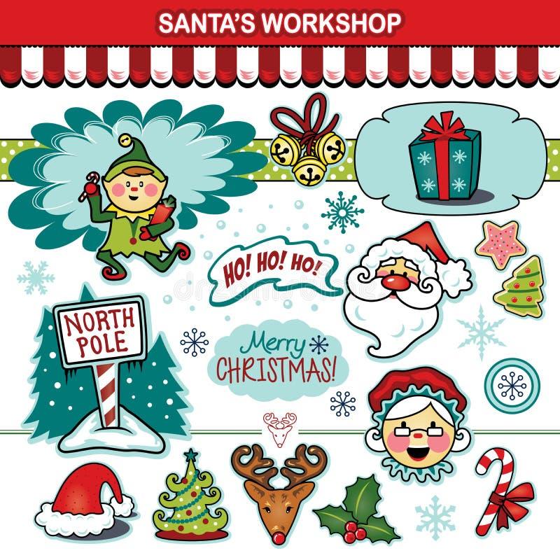 Santa's warsztatowa Bożenarodzeniowa wakacyjna kolekcja ilustracji