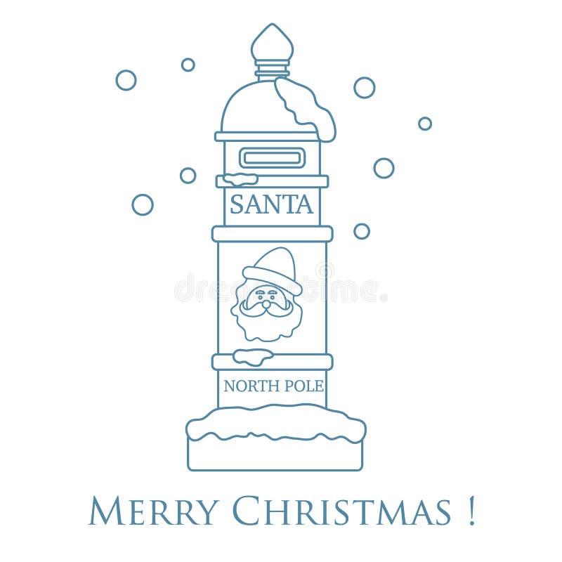 Santa'sbrievenbus en sneeuw stock illustratie