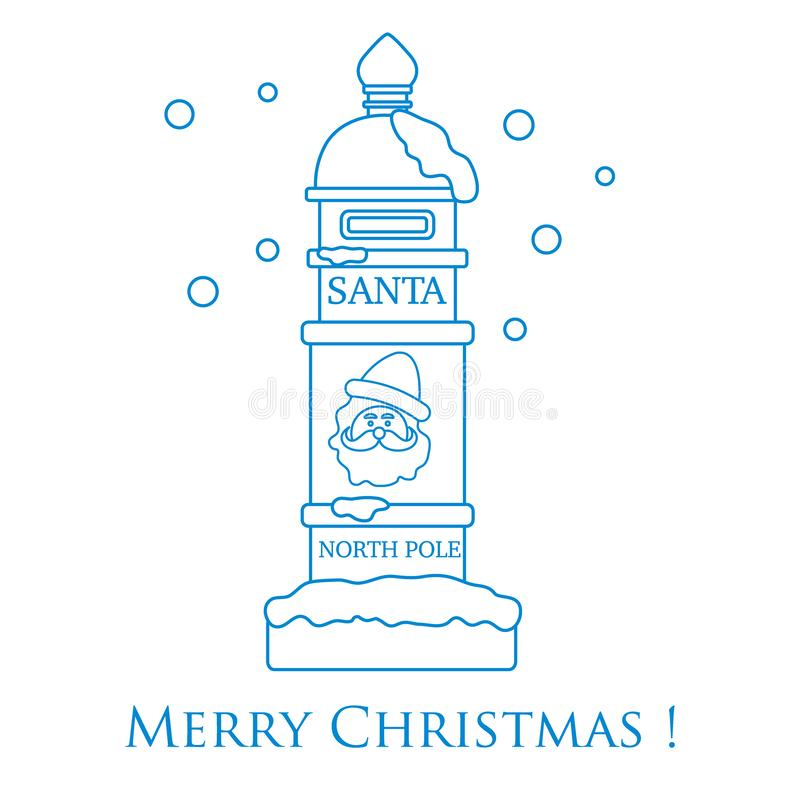 Santa'sbrievenbus en sneeuw vector illustratie