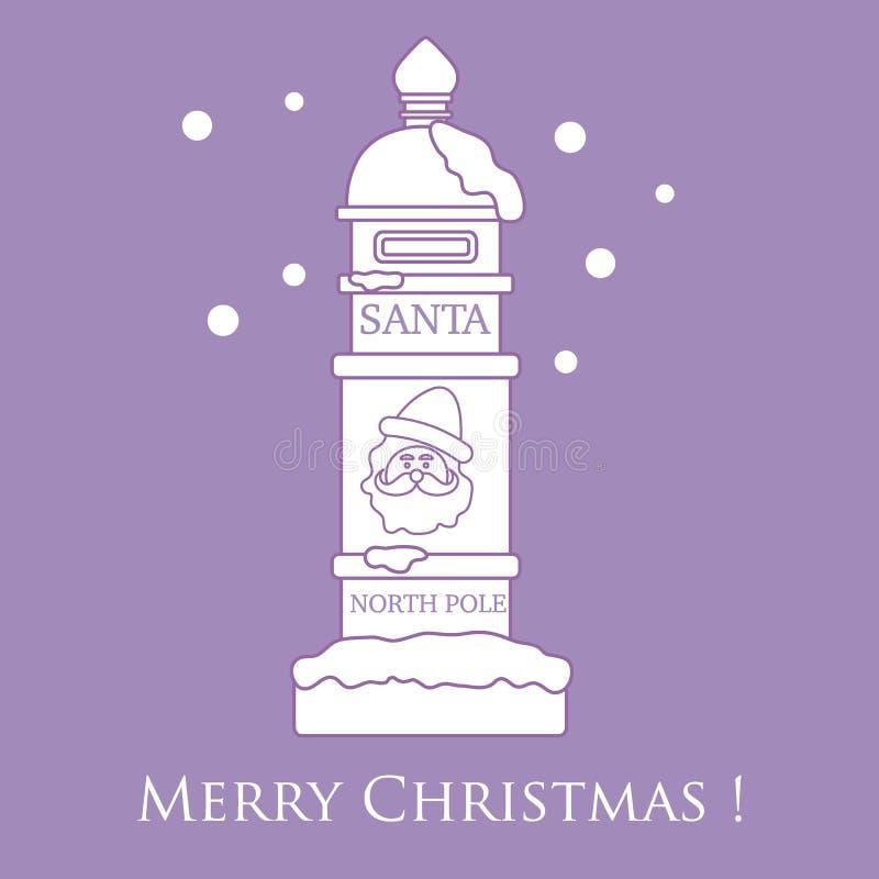 Santa'sbrievenbus en sneeuw royalty-vrije illustratie