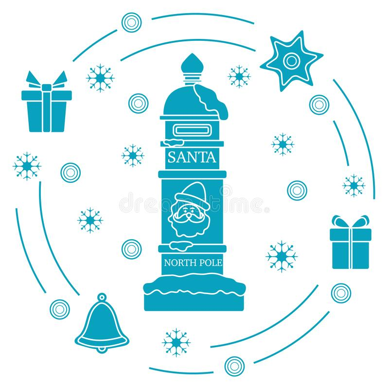Santa'sbrievenbus, giften, klok, peperkoek stock illustratie