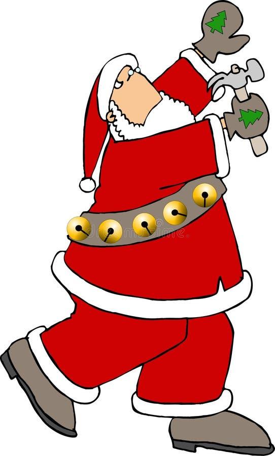 Santa à l'aide d'un marteau illustration de vecteur