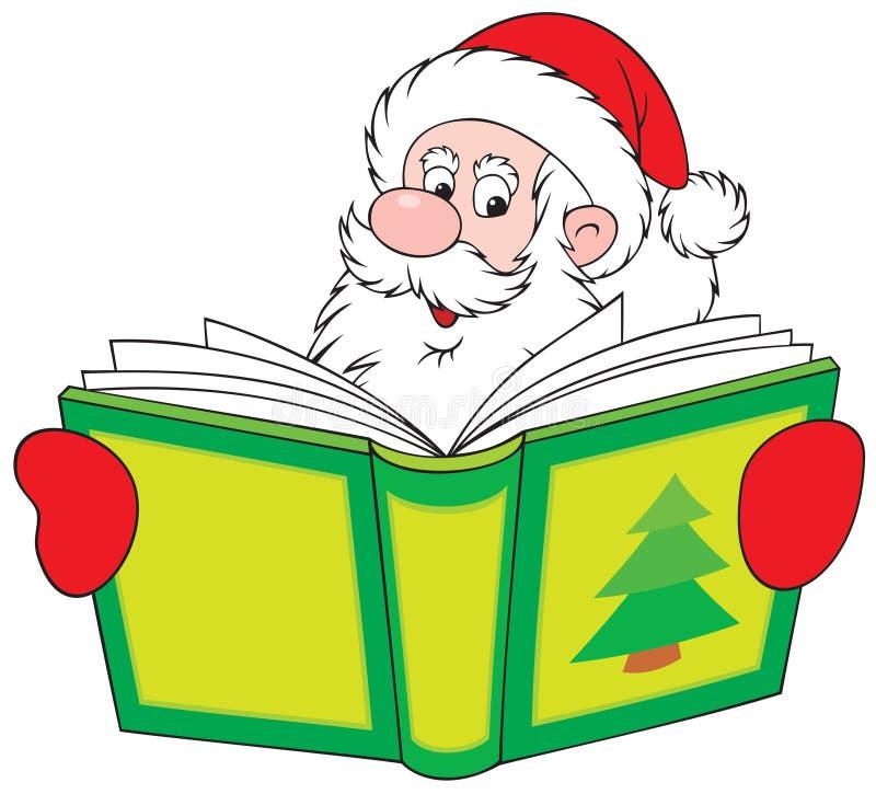 santa ανάγνωσης Claus βιβλίων διανυσματική απεικόνιση