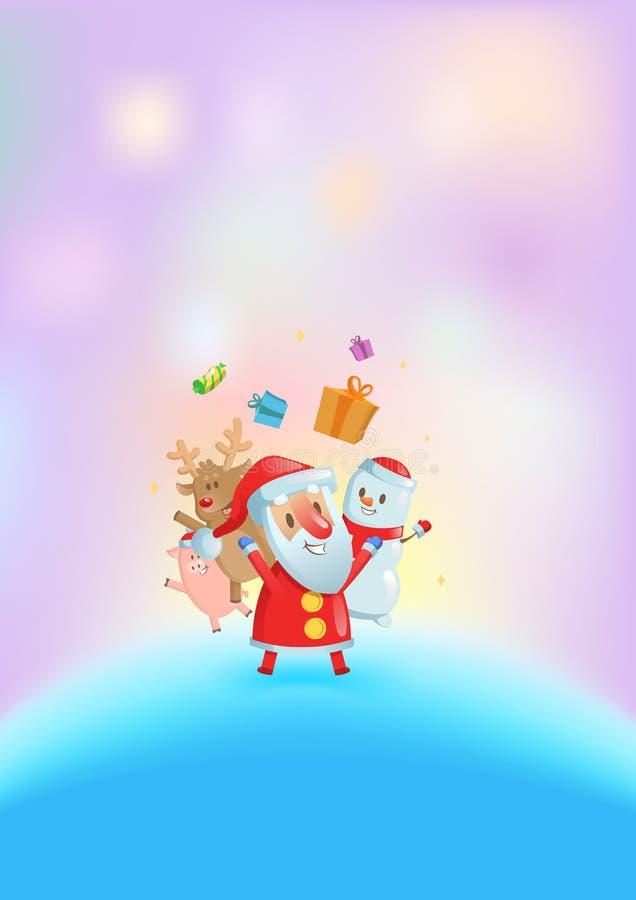 Santa και οι φίλοι του που χορεύουν μεταξύ των φωτεινών φω'των ουρανός santa του Klaus παγετού Χριστουγέννων καρτών τσαντών Επίπε διανυσματική απεικόνιση