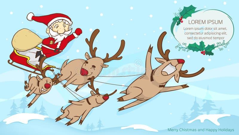 Santa και πετάγματος και κειμένων ταράνδων πλαίσιο, κείμενο FR Χαρούμενα Χριστούγεννας ελεύθερη απεικόνιση δικαιώματος