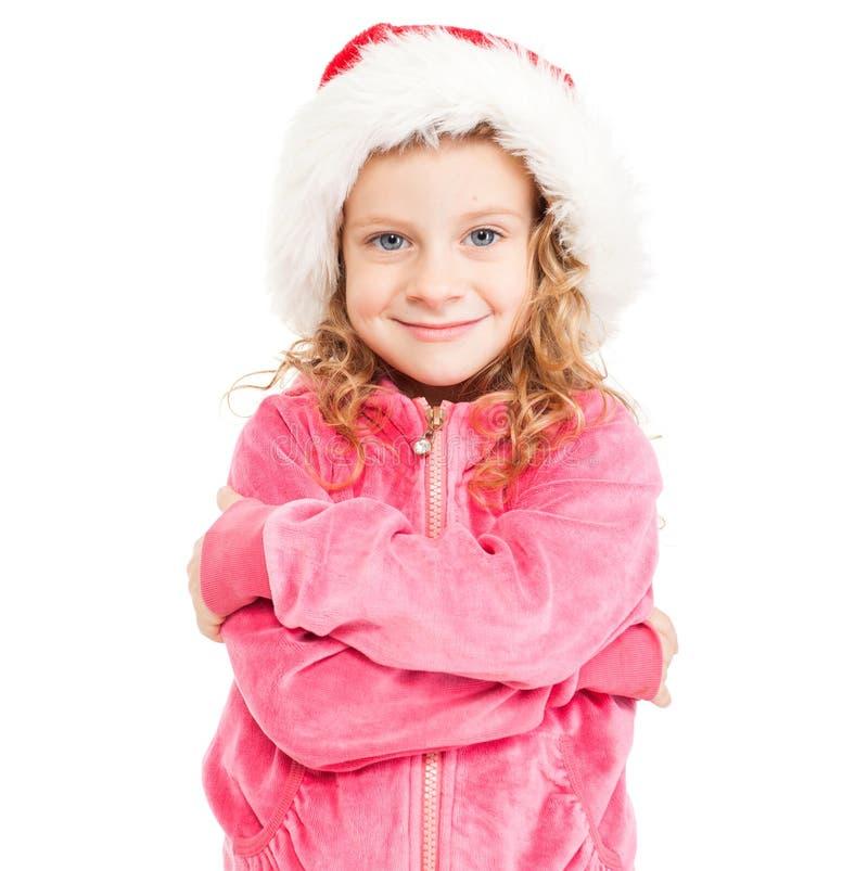 santa καπέλων κοριτσιών στοκ εικόνες με δικαίωμα ελεύθερης χρήσης