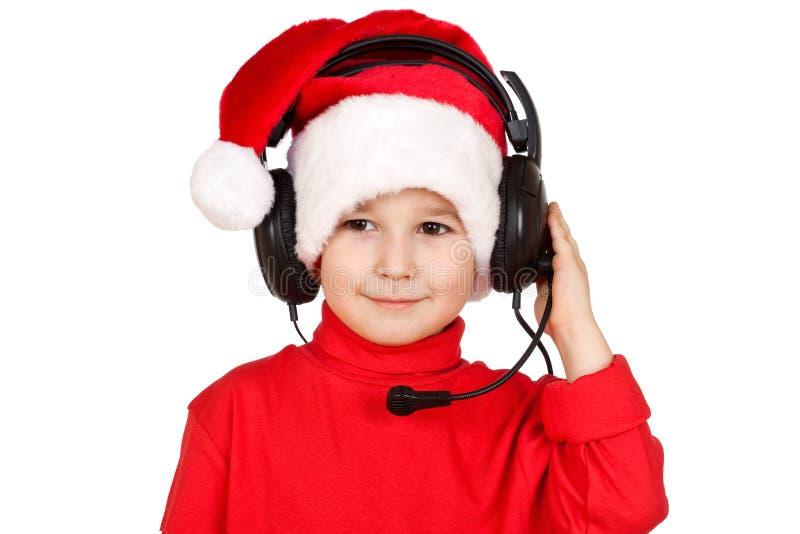 santa καπέλων Claus αγοριών στοκ φωτογραφία με δικαίωμα ελεύθερης χρήσης