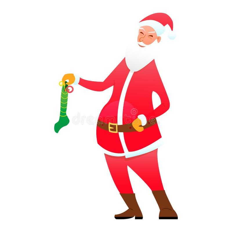 Santa με μια καραμέλα καλτσών απεικόνιση αποθεμάτων