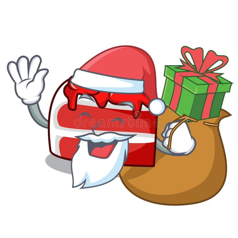 Santa με τα κόκκινα κινούμενα σχέδια μασκότ βελούδου δώρων διανυσματική απεικόνιση