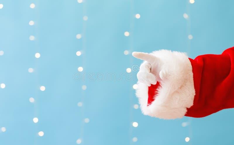 Santa με την υπόδειξη της χειρονομίας στοκ φωτογραφίες