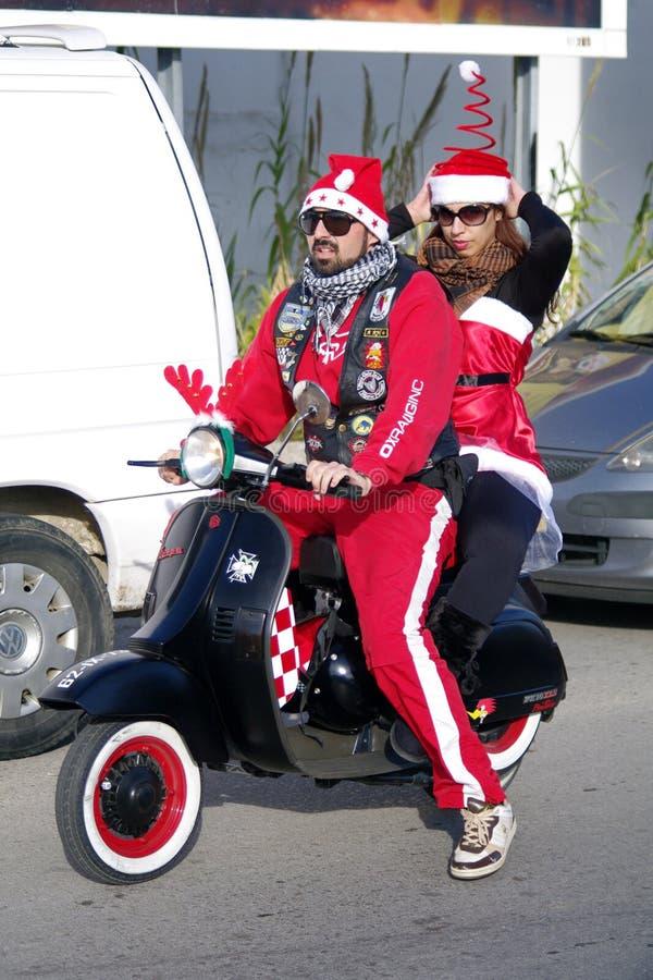 santa παρελάσεων Claus ποδηλάτων τ στοκ φωτογραφίες με δικαίωμα ελεύθερης χρήσης