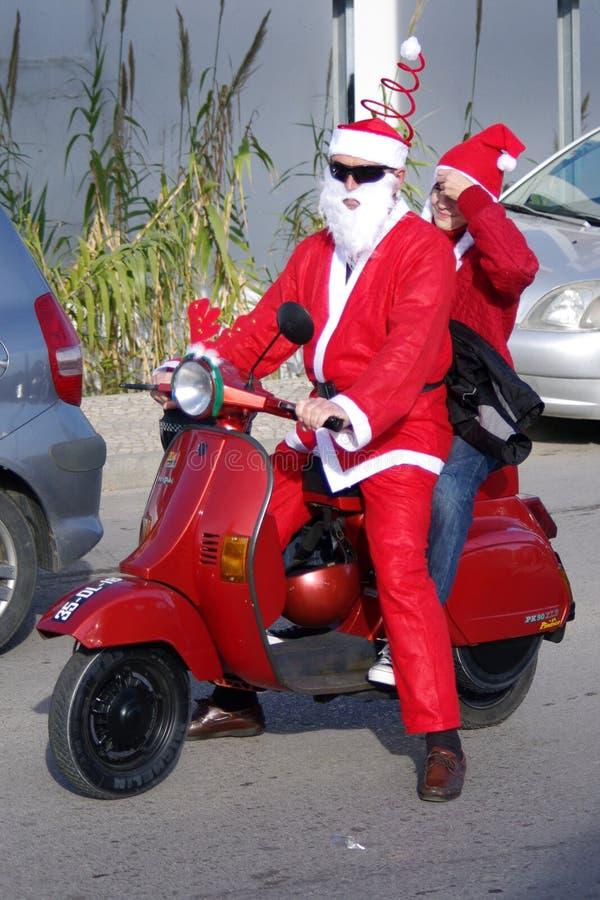 santa παρελάσεων Claus ποδηλάτων τ στοκ φωτογραφία με δικαίωμα ελεύθερης χρήσης