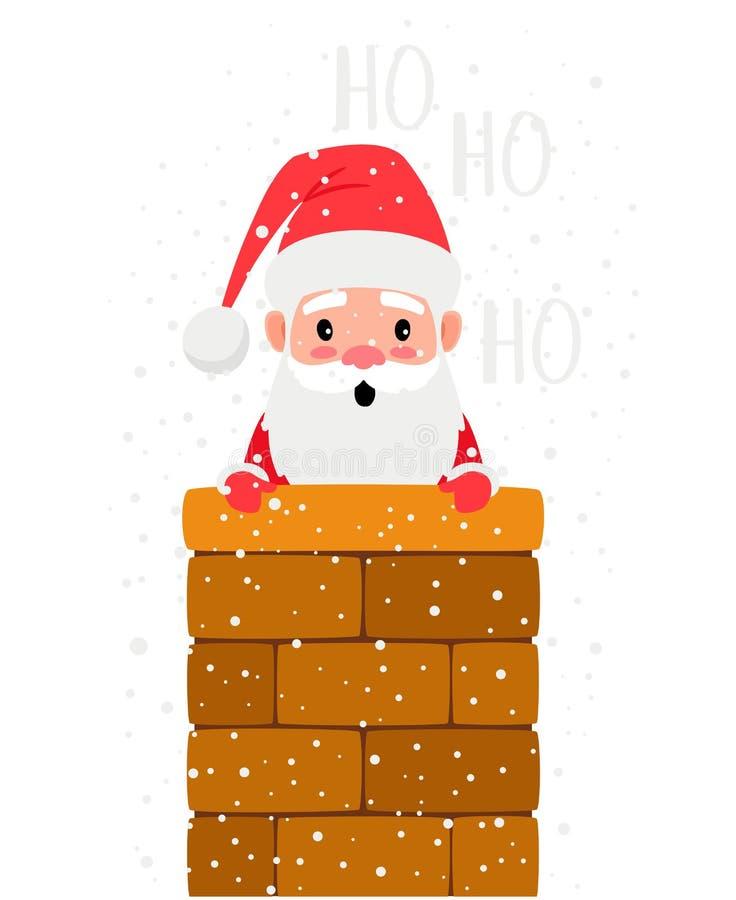 Santa που κοιτάζει από την καπνοδόχο διανυσματική απεικόνιση