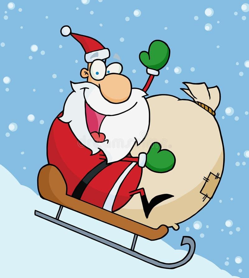 Download Santa που κυματίζει και που με το σάκο παιχνιδιών του Διανυσματική απεικόνιση - εικονογραφία από πατέρας, σάκος: 17057732