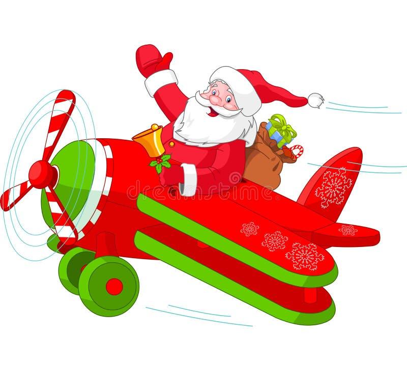 Santa που οδηγά το αεροπλάνο Χριστουγέννων του διανυσματική απεικόνιση
