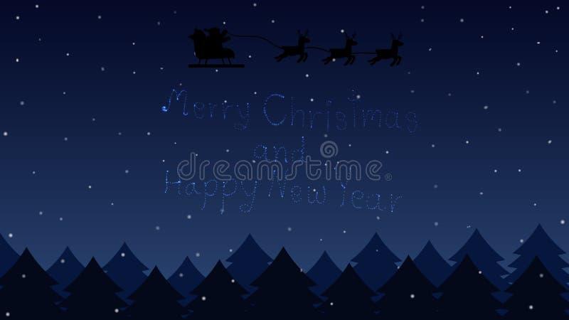 Santa που πετά μέσω του νυχτερινού ουρανού σε Χαρούμενα Χριστούγεννα και καλή χρονιά αστεριών δασών και κειμένων διανυσματική απεικόνιση