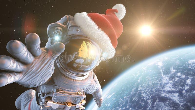 Santa στο διάστημα απεικόνιση αποθεμάτων