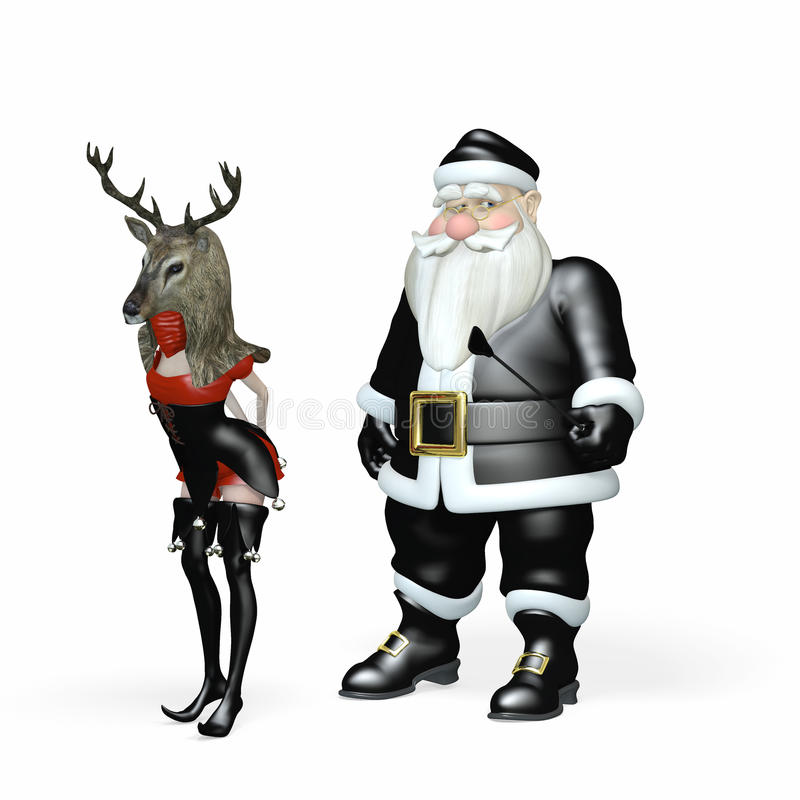 Santa στο Μαύρο - παιχνίδια 3 ταράνδων απεικόνιση αποθεμάτων