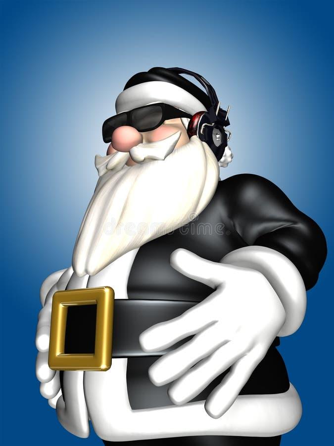Santa στο μαύρο DJ - ακουστικά διανυσματική απεικόνιση