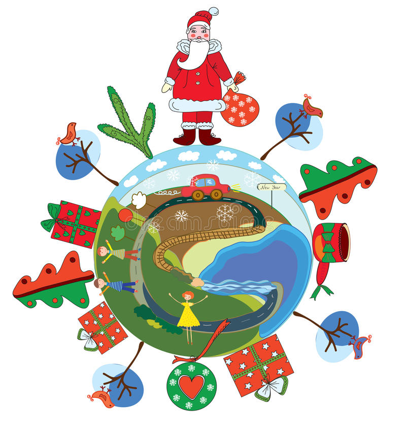 santa σφαιρών Claus Χριστουγέννων διανυσματική απεικόνιση
