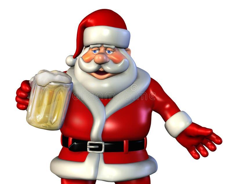Santa 2 piwo royalty ilustracja